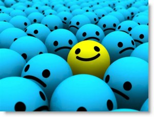 One happy smiley among a sea of unhappy smileys. Source: Photobucket.